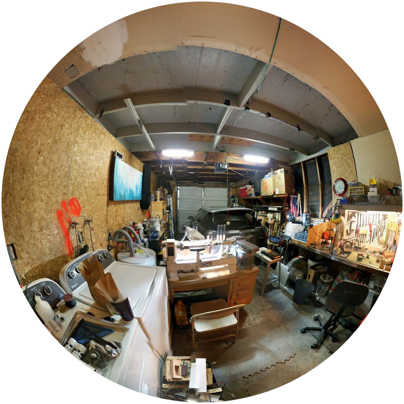 Fisheye photo of one-car garage